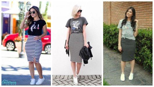 Três exemplos de looks com saia listrada e tênis branco.