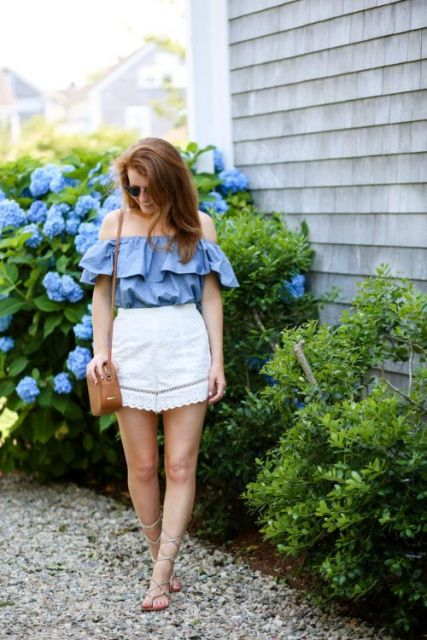 look blusa jeans com saia