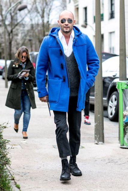 Super casaco azul para dias de muito frio