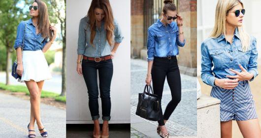 modelos usam calça jeans, camisa e sapatilha.