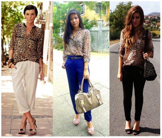 modelos usam camisa feminina estampada, calça pantacourtee sapato.