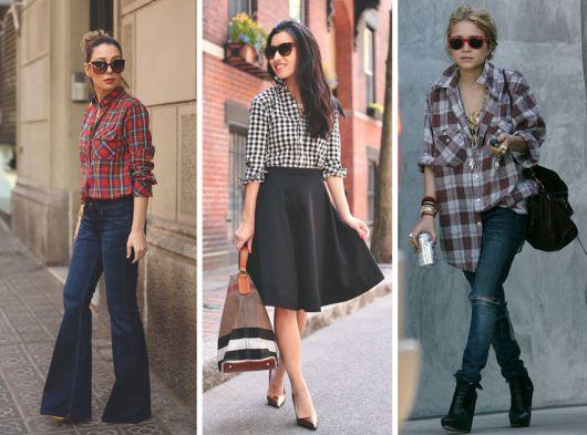 modelos usam camisa feminina xadrez e calça.