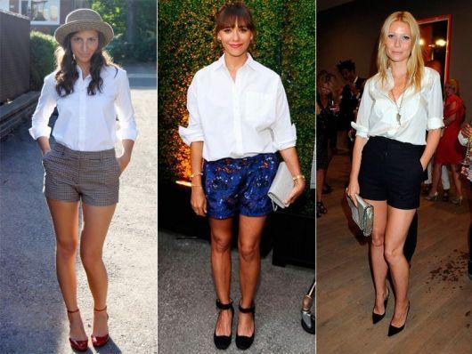 modelo usa short curto, camisa feminina branca e scarpin.