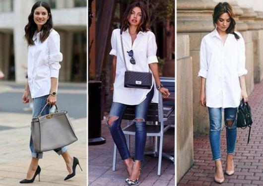 modelos usam calça jeans, camisa feminina branca e scarpin.