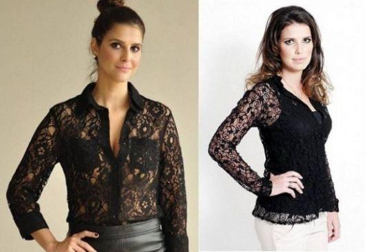modelo usa blusa preta e calça branca.