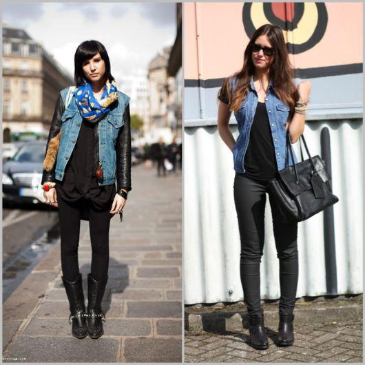 modelos vestem calça preta, blusa e colete jeans azul.