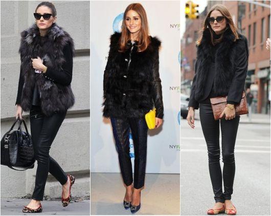 modelos vestem calça jeans preta, colete e camiseta.