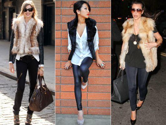 modelo usam calça preta, camisa, blusa, colete de pelos e sapato de salto.