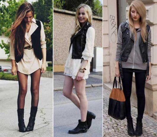 modelos usam vestido e colete de couro preto.