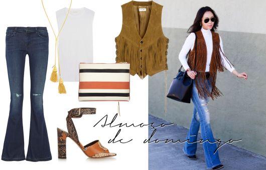 modelo usa calça jeans, blusa branca, colete de franjas e bolsa tiracolo.