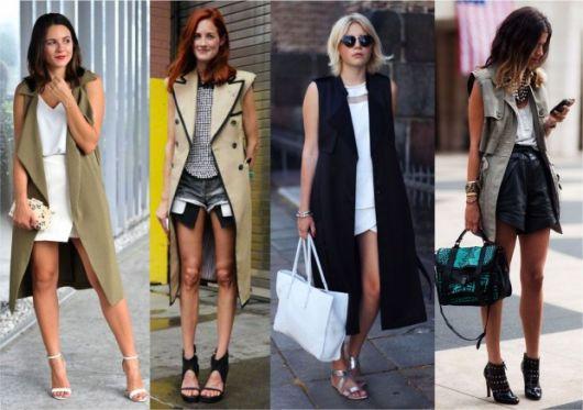 modelos vestem coletes longos nas cores preto, marrom, verde e branco.