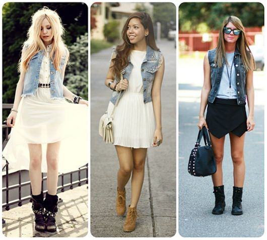 modelos usam vestidos na cor branca, colete jeans e botinha.