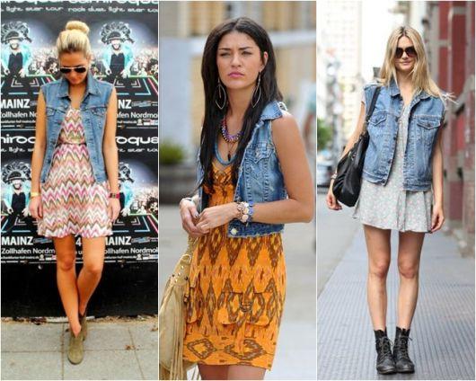 modelos vestem vestidos e colete jeans.
