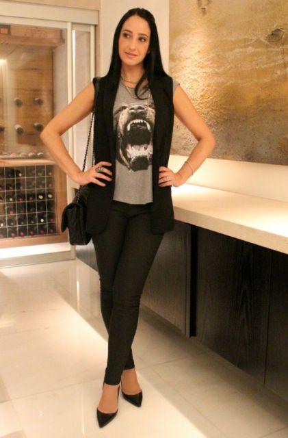 colete social feminino com calça de couro