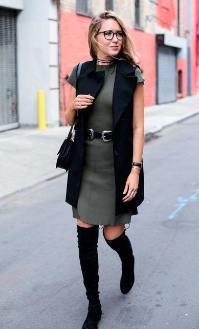 colete social feminino cinza com colete preto