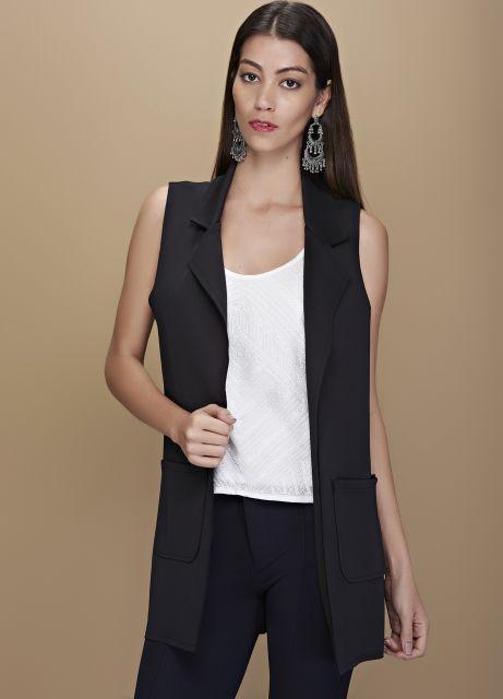 colete social feminino preto com calça social