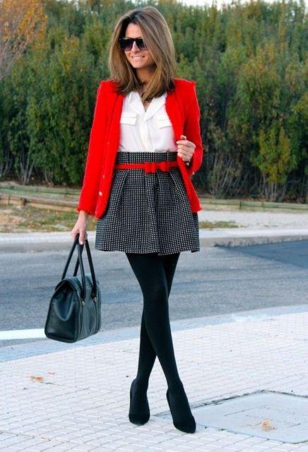 looks elegantes com meia calça preta