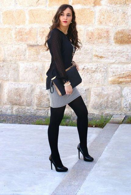 looks elegantes com meia calça e blusa preta