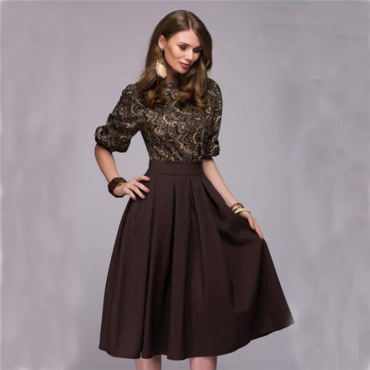 looks elegantes com saia midi marrom