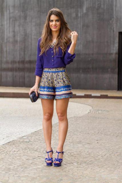 looks elegantes baixinhas com short estampado