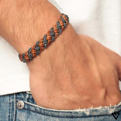 Pulseira de couro masculina trançada e colorida