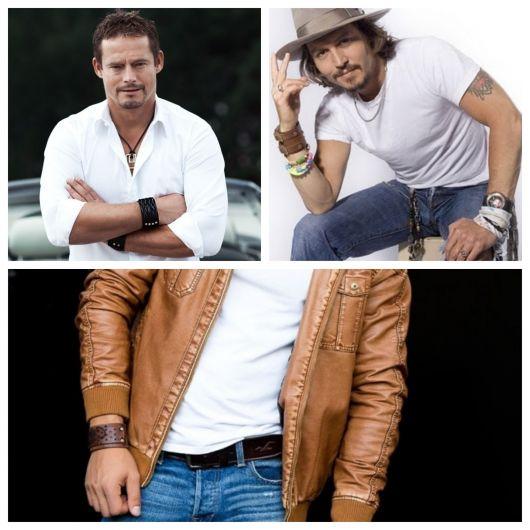 Os famosos adoram usar pulseiras de couro de variados modelos