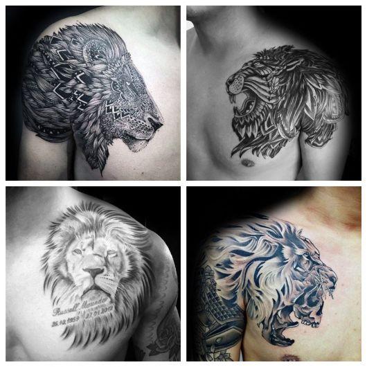 Várias versões de tatuagem de leão que atraem homens de todos os estilos