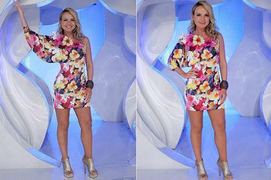 vestido havaiano na apresentadora Eliana