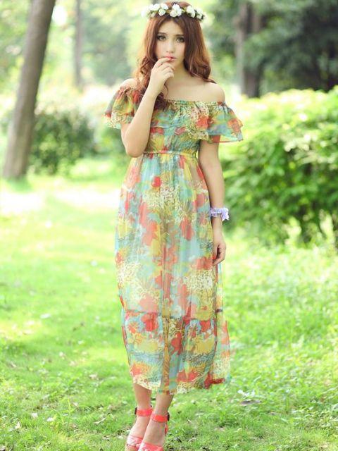 vestido havaiano delicado e romântico