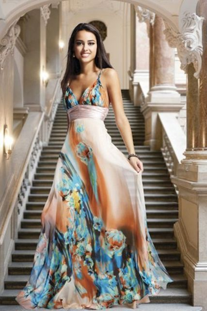 vestido havaiano longo para festas