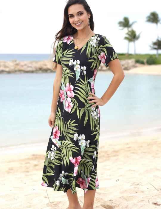 vestido havaiano preto longo
