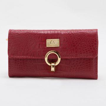 carteira feminina vermelha de couro ecologico.