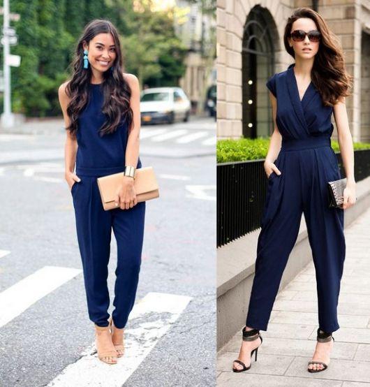 modelo usa carteira feminina com macacao azul escuro.