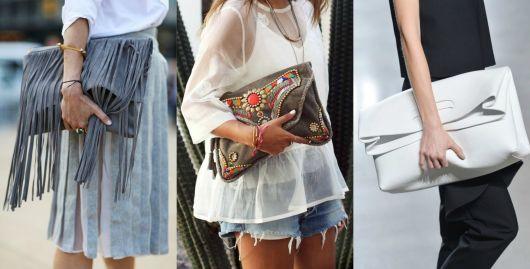 modelo usa bermuda jeans, camiseta e carteira feminina grande.