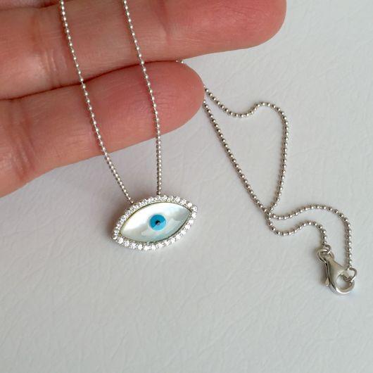 colar olho grego com colar de prata