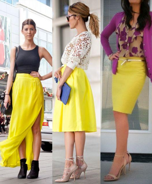 dicas de looks com saia amarela