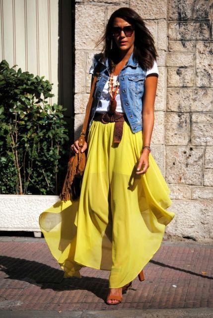 saia amarela super longa