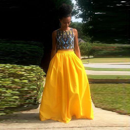 saia amarela longa fashion