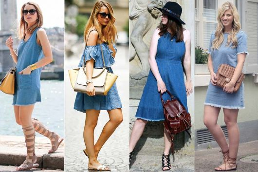 modelos usam vestido jeans e rasteirinhas.