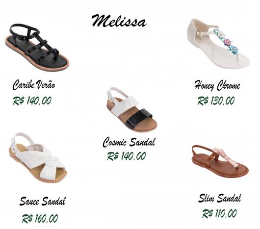5 rasteirinhas da marca Melissa nas cores, branco, preto, preto e branco, branco e amarelo e caramelo.