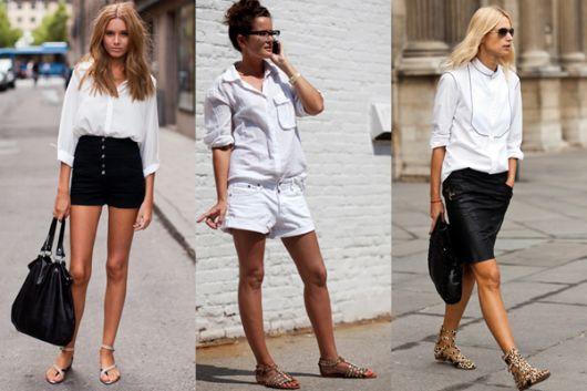 modelos com rasteirinhas de pedras e shorts nas cores preto e blusa branca.
