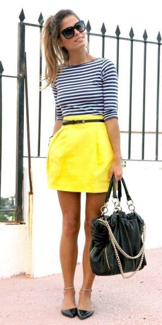 saia amarela curta e solta