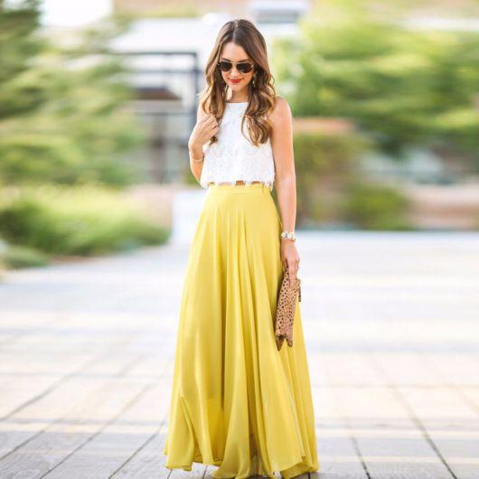 saia amarela longa linda