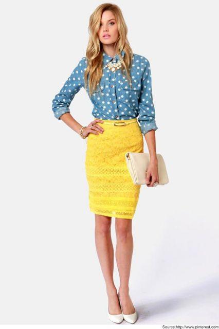 saia amarela envelope com blusa social