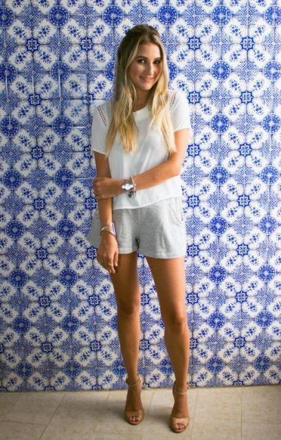 look shorts com sandália
