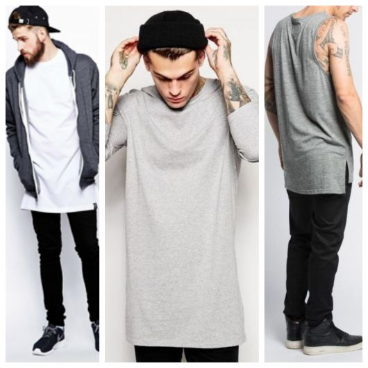 A camiseta alongada deixa o estilo descolado e diferente