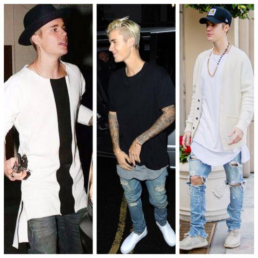 Justin usa camisetas oversized de vários tipos e padrões