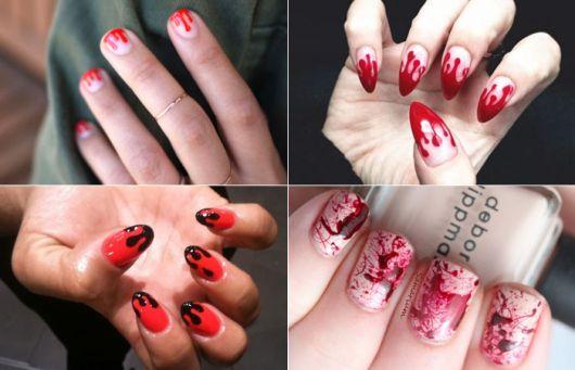 unhas decoradas com esmalte vermelho.