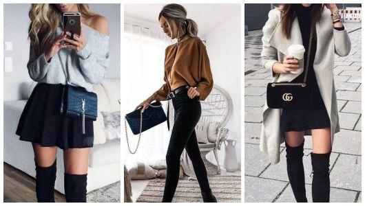 Três fotos de mulheres usando bolsa com alça de corrente.