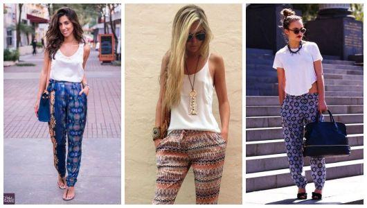 Montagem com três exemplos de looks com calça indiana.